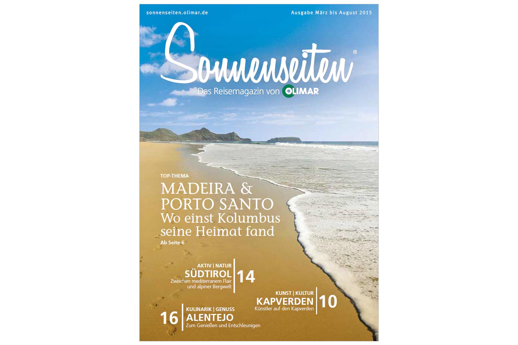 Titelbild Ausgabe 1 OLIMAR Sonnenseiten Reisemagazins