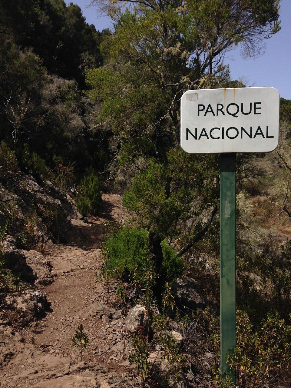 Nationalpark Garajonay, Schild Parque Nacional