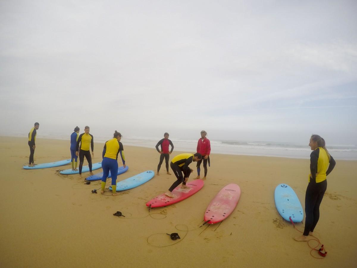 Trockenübungen Surfen Portugal Westküste