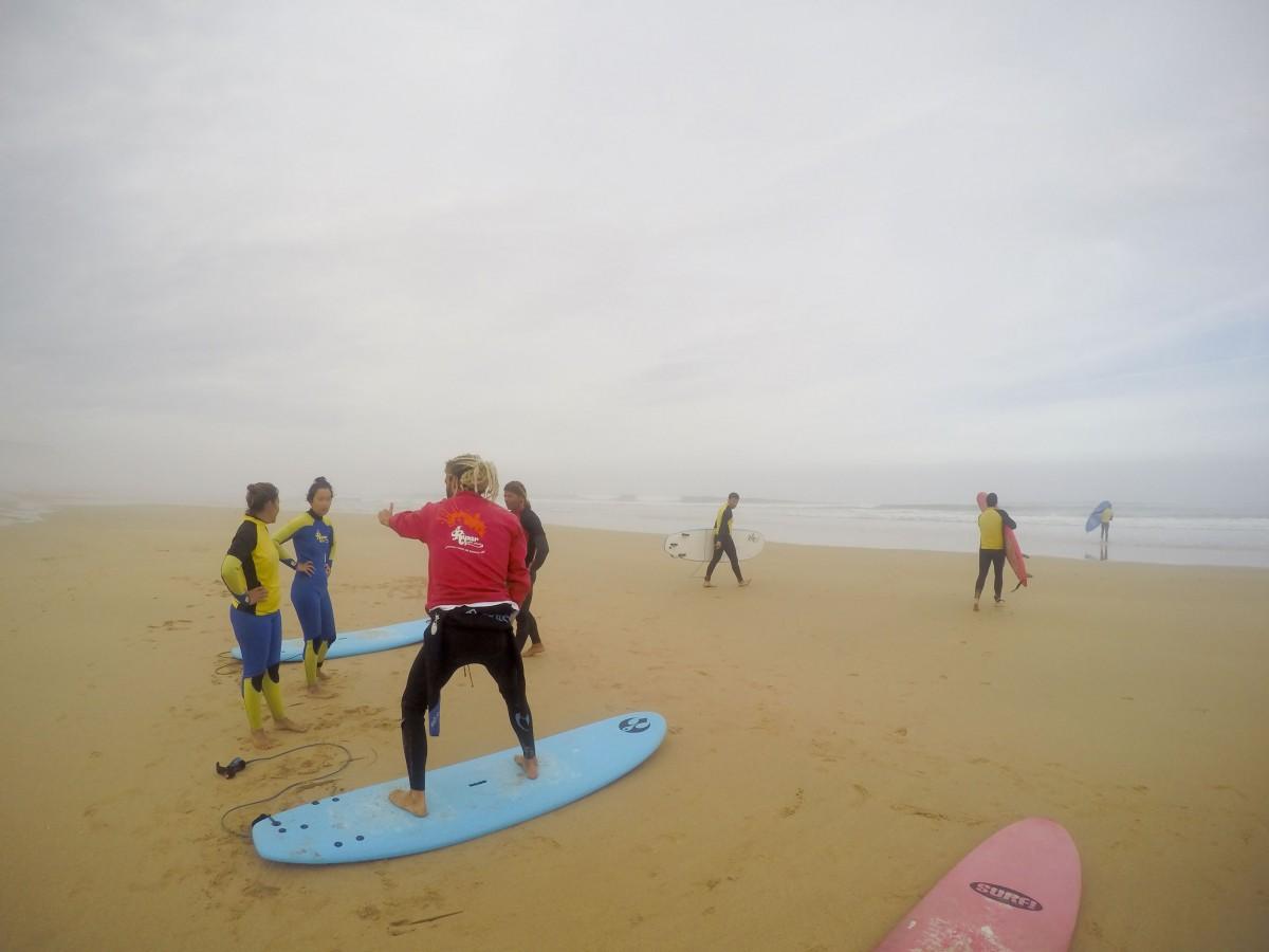 Der Surflehrer zeigt, wie man auf dem Brett steht
