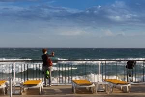 Raues Meer und Terrasse auf Porto Santo