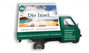 Selbst unsere kleine OLIMAR-Ape wird als Werbeträger für die neue Kampagne genutzt. Kölner sollten die Augen nach ihr aufhalten!