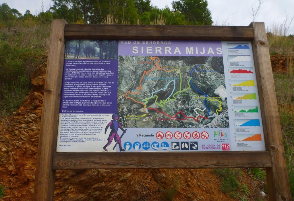 Übersichtskarte des Wandergebietes in der Sierra de Mijas