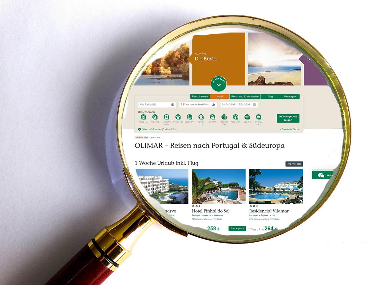 Internetseite von Olimar vergrößert unter Lupe