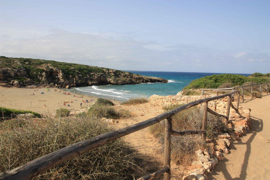 Blick vom höher gelegenen Wanderpfad auf den herrlichen Strand der Cala Mosche