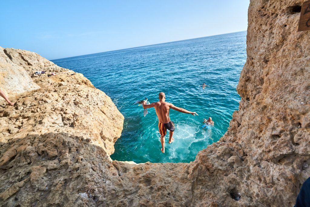 Felsenküste Wasser Springen Ausflug Agarve