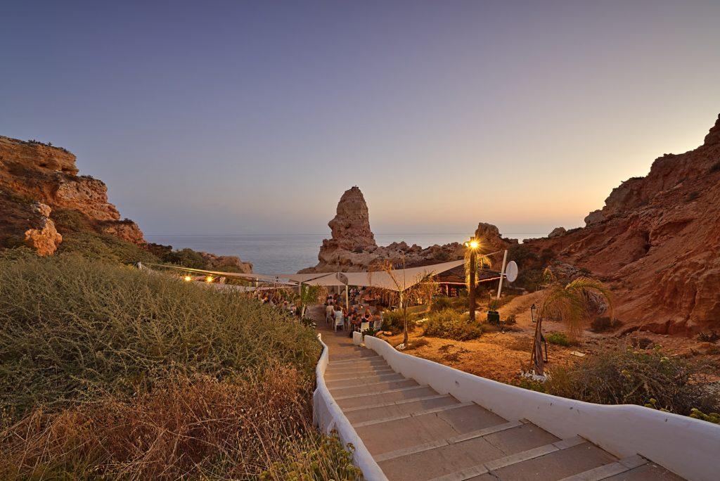 Restaurant am Strand Algarve Sonnenuntergang
