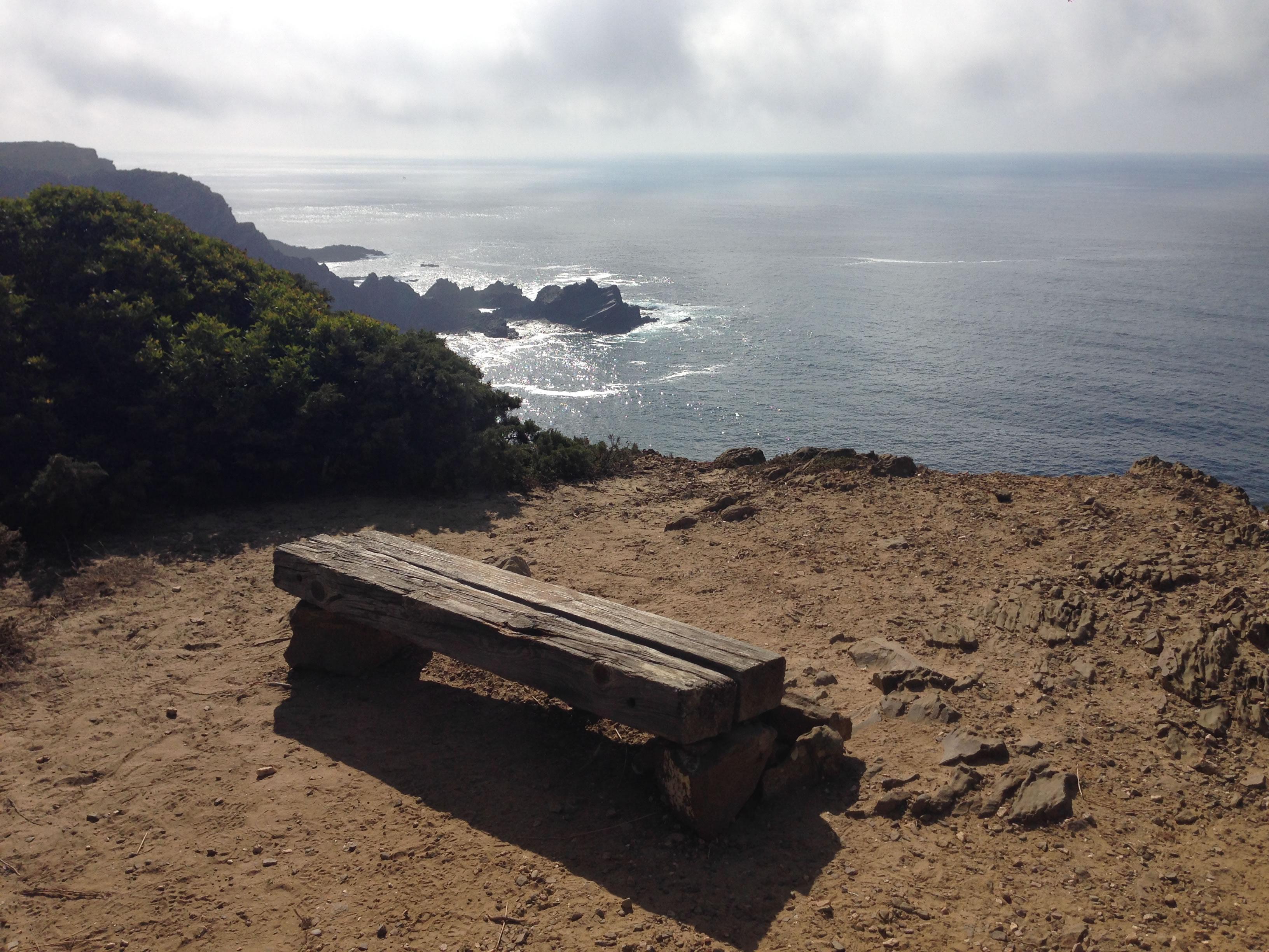 Bank Wanderweg Küste Meer Ausblick