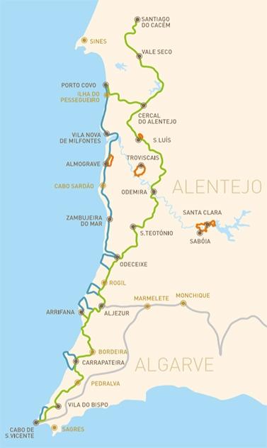 Wanderkarte Rota Vincentina Alentjo, Algarve