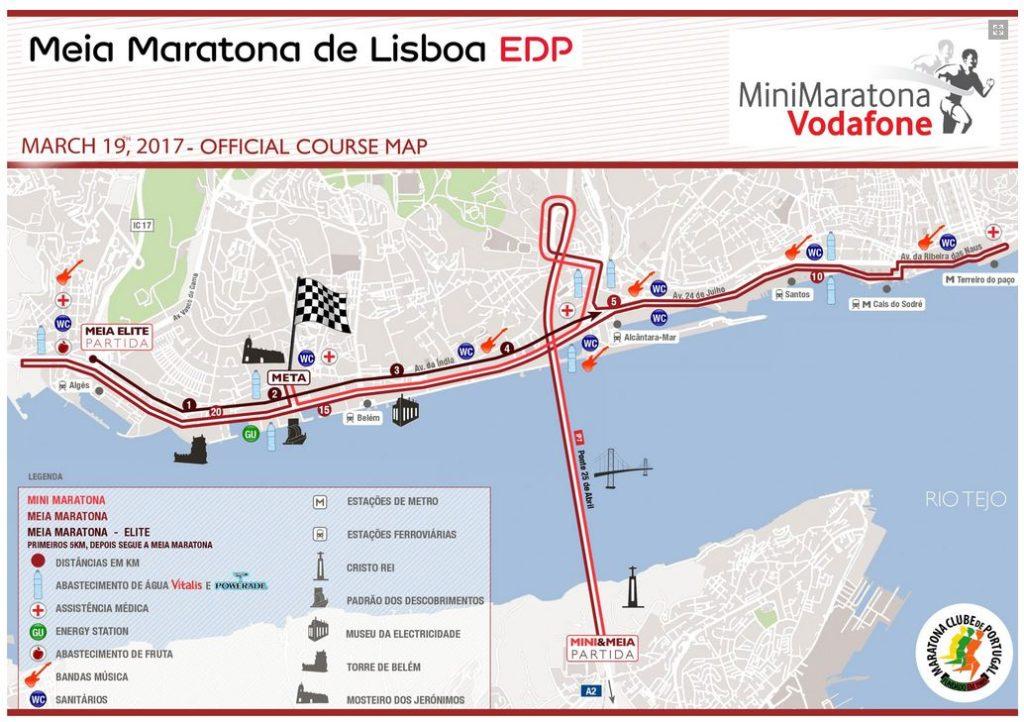 Route Halbmarathon Lissabon 2017