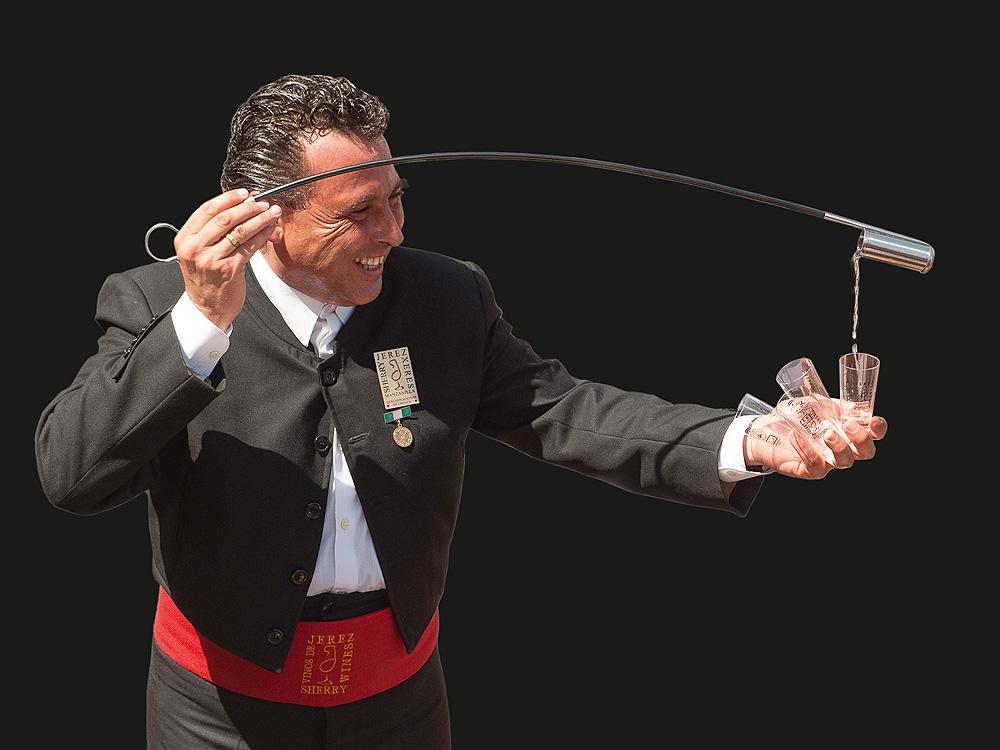 Jerez Wein wird eingeschenkt