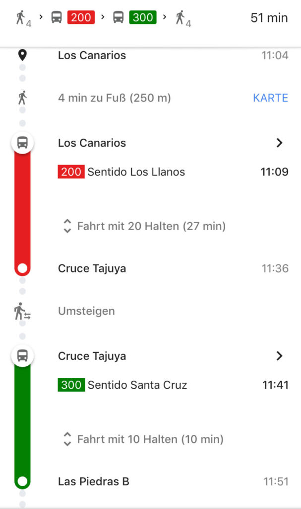 Screenshot Buslinie Vulkanroute