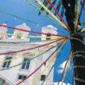 Geschmückte Häuser in Lissabon