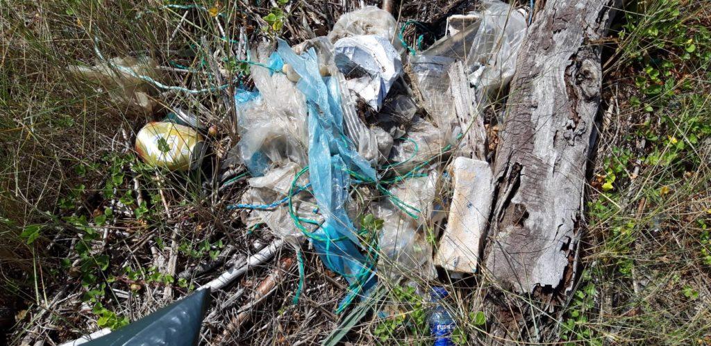 Plastikmüll und Schnüre am Strand